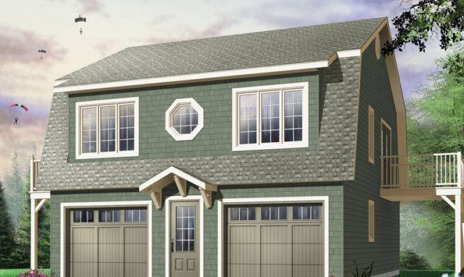 Two Story Style Car Garage Apartment Decorative Round Center