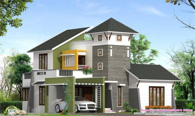 Unique Feet Villa Elevation Kerala Home Design Floor