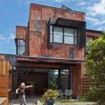 Unique Modern House Dark Brown Brick Outdoor Accent