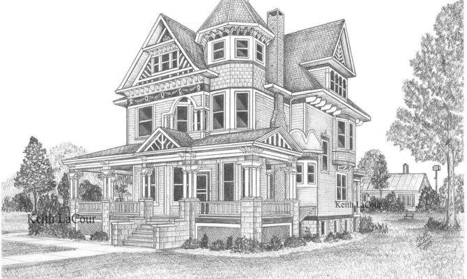 Victorian House Aviston Pencil Drawing Keith