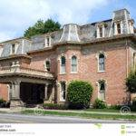 Vintage Second Empire Style Red Brick House Mansard Slate Roof