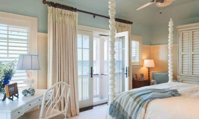 White Blue Coastal Beach House Master Bedroom