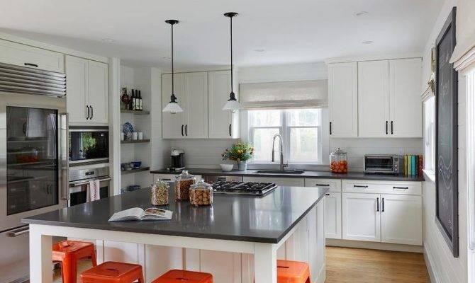 White Square Kitchen Island Orange Tolix Stools