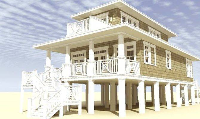 Wonderful Narrow Lot Beach House Plans Pilings Coastal
