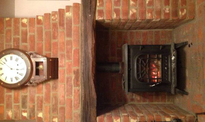 Wood Burner Exposed Brick Fireplace Interior Design Pinterest