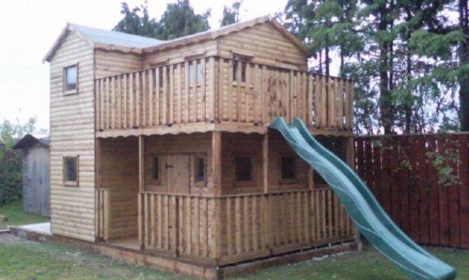 Wooden Deluxe Playhouse Wendy House Heavy Duty Upstairs
